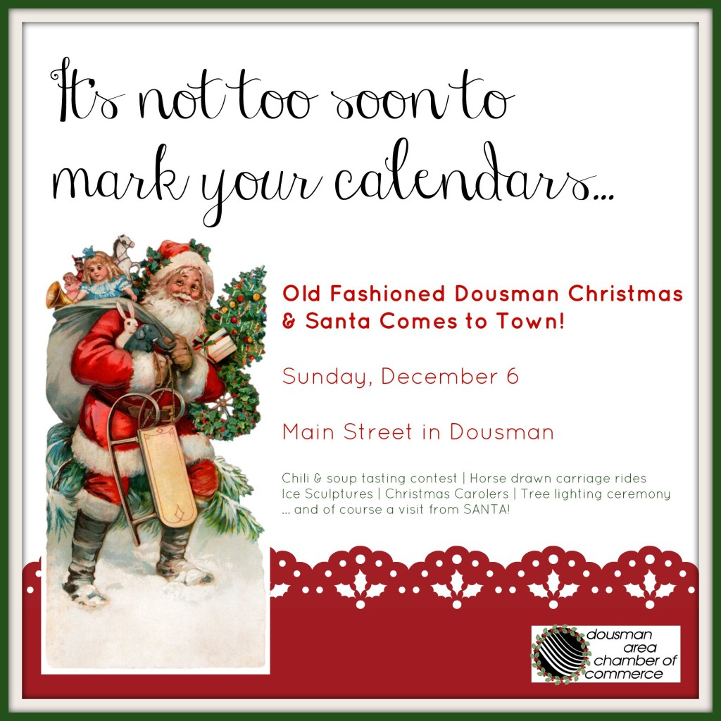 Christmas event, save the date, mark your calendar, dousman, wi
