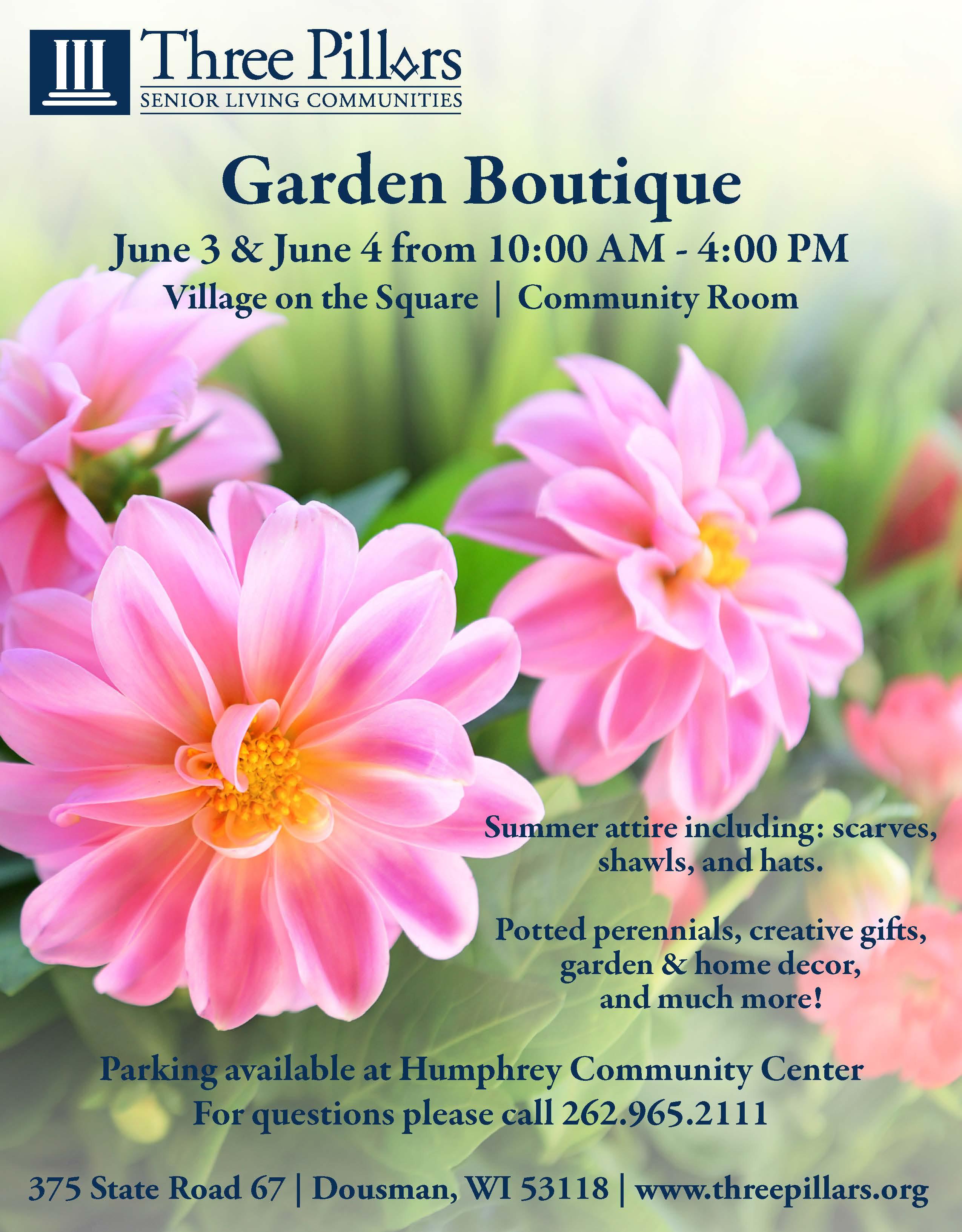 Three Pillars Garden Boutique - 2 Days! @ Three Pillars - Village on the Square | Dousman | Wisconsin | United States