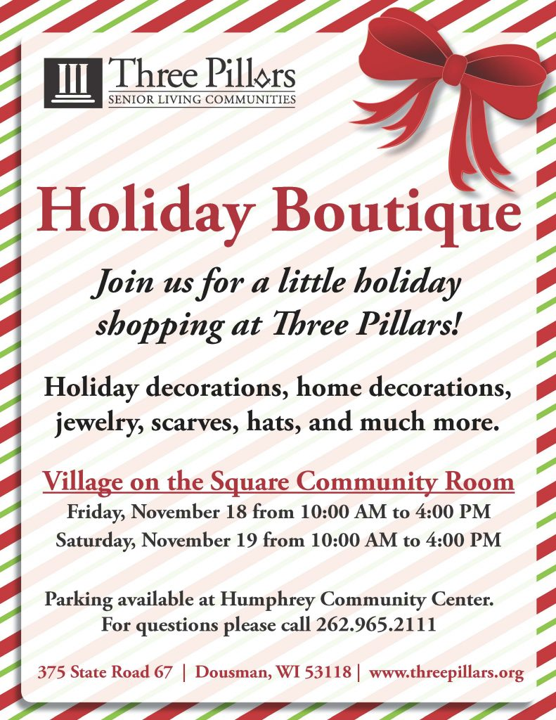 Holiday Boutique | Two-Days of Shopping at Three Pillars @ Three Pillars Senior Living Communities | Dousman | Wisconsin | United States