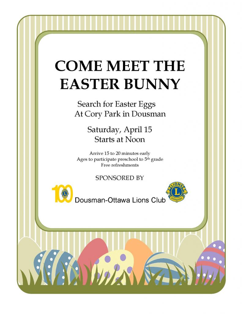 Meet the Easter Bunny! Dousman-Ottawa Lions Annual Easter Egg Hunt | 2017 @ Cory Park, Dousman | Dousman | Wisconsin | United States