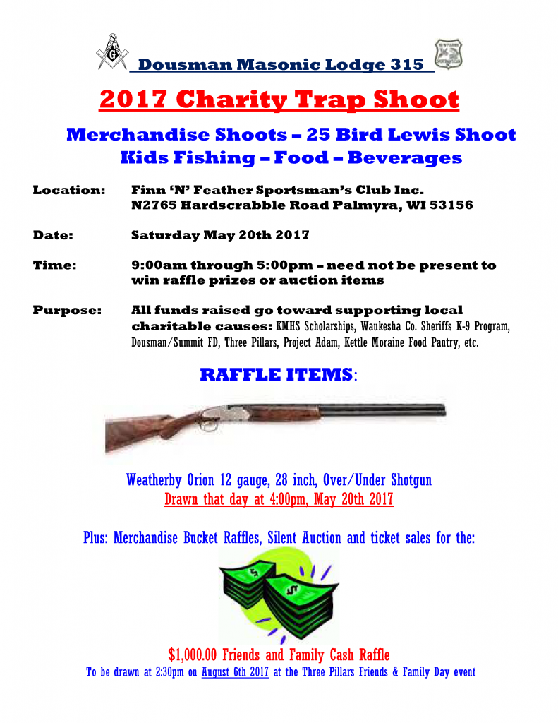 Dousman Masonic Lodge 2017 Charity Trap Shoot @ Fin 'n Feather Sportsman's Club | Dousman | Wisconsin | United States