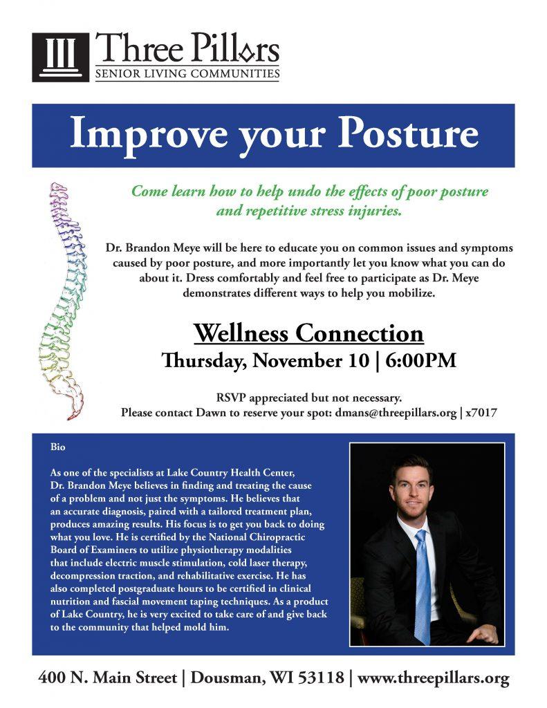 Dr. Meye, Three Pillars Wellness Connection, Improve your Posture, Dousman, WI