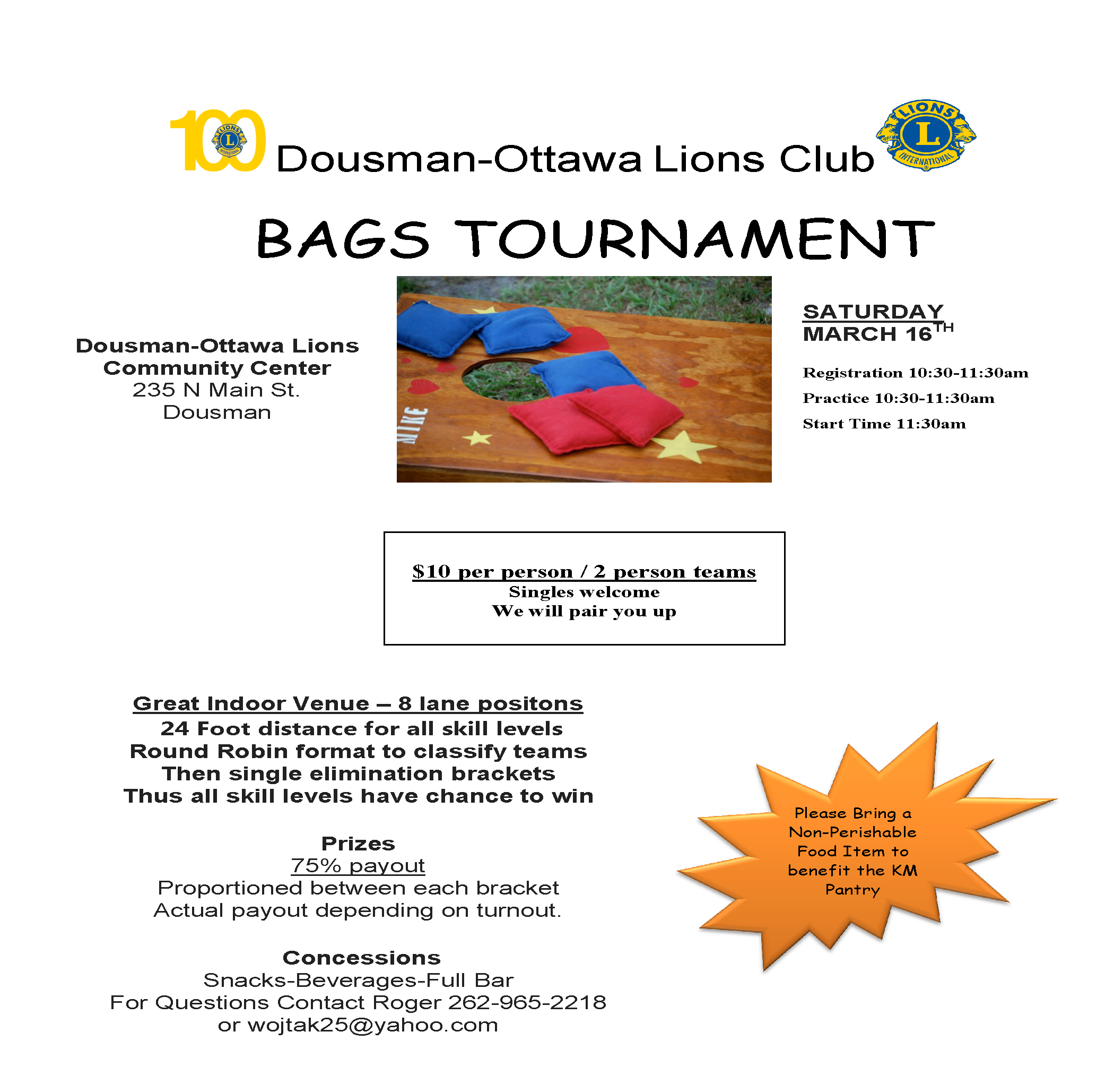 Bags Tournament with the Dousman-Ottawa Lions Club – March