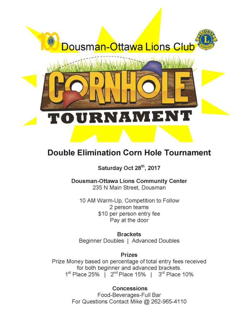 Cornhole Tournament with the Dousman-Ottawa Lions Club - October 2017 @ Dousman-Ottawa Lions Community Center | Dousman | Wisconsin | United States