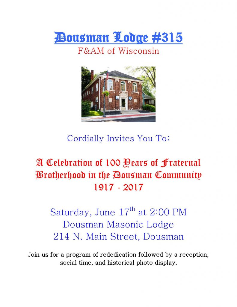 Dousman Masonic Lodge - Celebration of 100 Years of Fraternal Brotherhood in the Dousman Community @ Dousman Masonic Lodge | Dousman | Wisconsin | United States