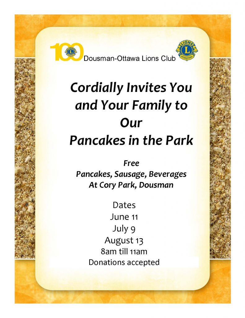 Pancakes in the Park | June, July, and August 2017 | Dousman-Ottawa Lions Club @ Cory Park | Dousman | Wisconsin | United States