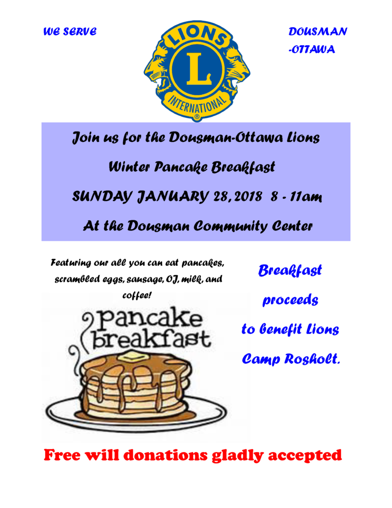 Dousman Ottawa Lions Winter Pancake Breakfast | 2018 @ Dousman Community Center | Dousman | Wisconsin | United States