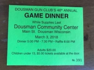 Dousman Gun Club Annual Game Dinner @ Dousman Community Center | Dousman | Wisconsin | United States